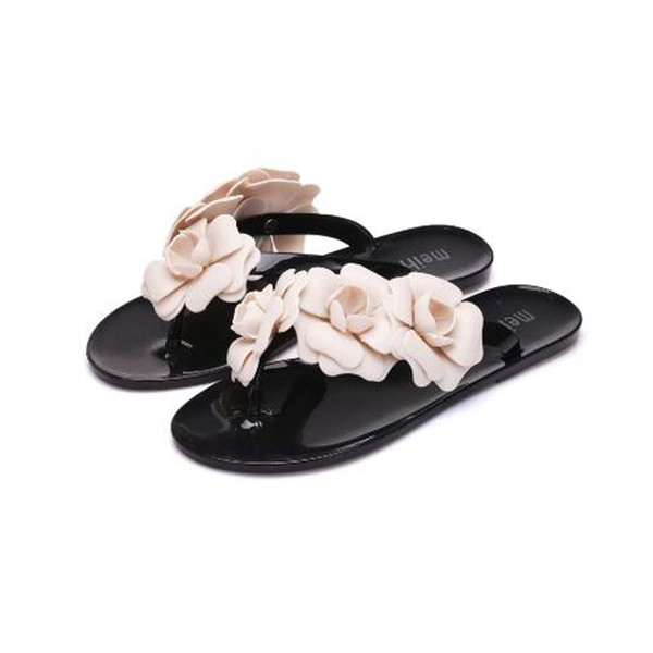 50b643fb7 New summer women s floral flat slippers female s flip flops flowers slippers  pvc sandals beach shoes free shipping