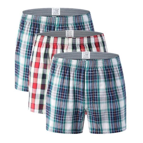 3 unids / lote Hombres Boxers Ropa Interior de Tela Escocesa de Algodón Pantalones Cortos de Los Hombres Bragas Más Flecha de Tamaño Shorts Boxeadores Masculinos Calzoncillos Caseros 5XL 6XL