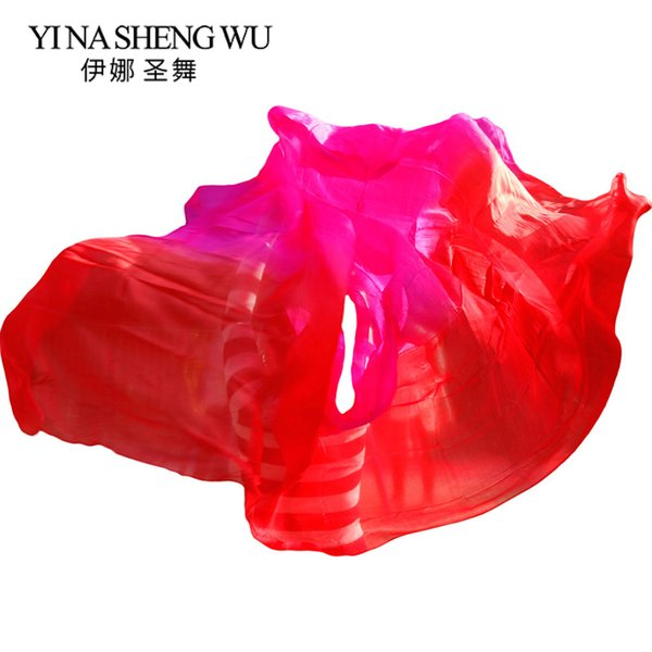 Silk Bauchtanz Schleier Tanz Schleier Schal Farbverlauf Rot + Rose Farbe Bauch Praxis Leistung Seide Requisiten 250/270 * 114 cm
