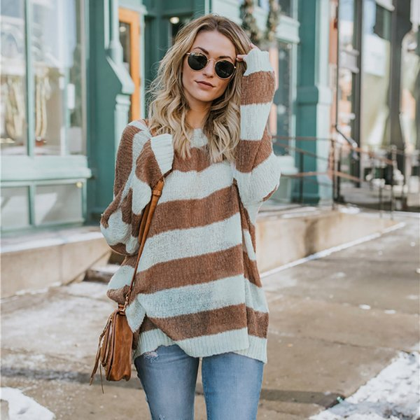 winter clothes women Long Sleeve Striped Color Block Knitted O-Neck Loose Sweater Women pull femme hiver