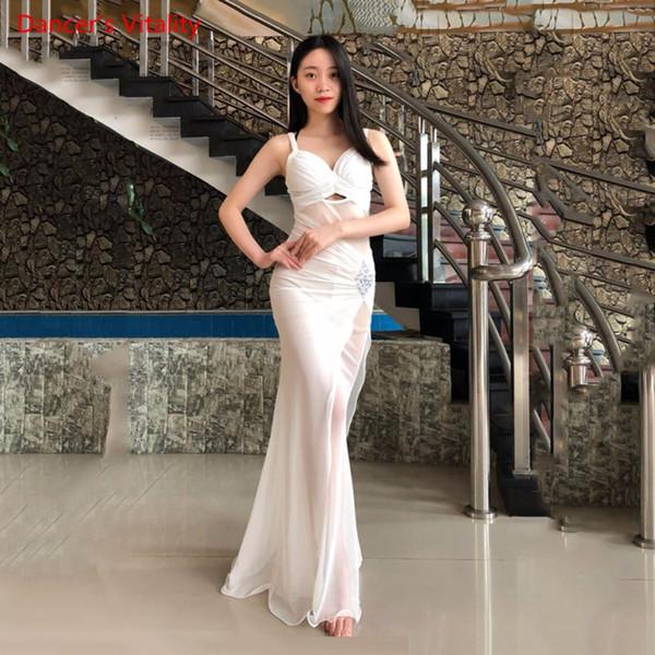 Las mujeres del verano de una sola pieza Sexy Mesh Costume Oriental Dancing Dress Hooks falda negro rojo blanco Sexy V cuello envío gratis