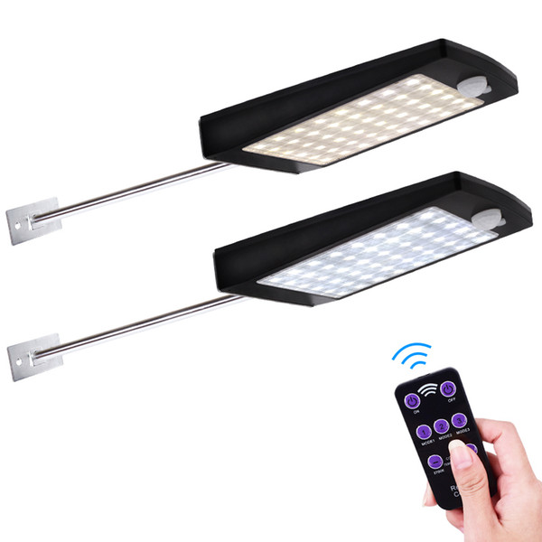 top popular Solar Lights Outdoor 48 LED 3 Modes Motion Sensor Solar Wall Light with Remote Controller Waterproof Security Lamp for Street Garden Yard 2019