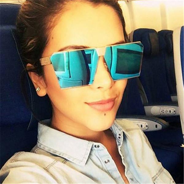 Sun nuevas gafas de sol de moda de mujer de marca de la vendimia del cuadrado del diseño de lujo de los vidrios del marco grande Sombras Eyewear UV400 Oculos
