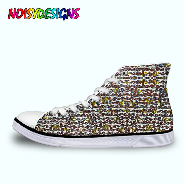 WoWomen High Top Canvas Shoes Female Spring Summer African Style Patterm Shoes Woman Students Ladies Breathable Sneakers