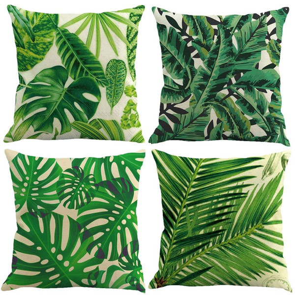 Set of 4 Throw Pillow Case Novelty Tropical plant pattern Linen Pillowcase Sofa Home Decor Cushion Cover 45x45 cm 18X18 inch
