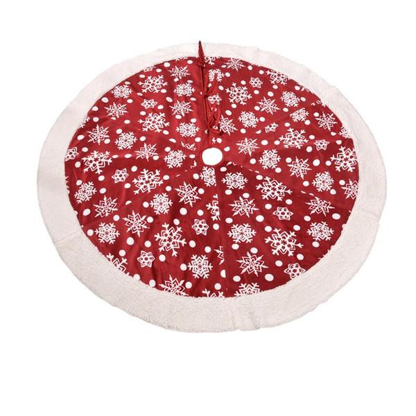 48 In Christmas Tree Skirt Red Printed Short Plush Christmas Decoration Skirt Round Red White Christmas Tree Tree Base Ornament