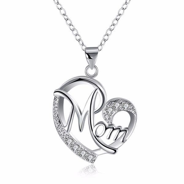 Letra linda de la mamá collar de lujo cubic zirconia amor corazón colgante, collar de plata de color joyería para momia mamá regalo del día de la madre