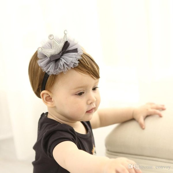Baby headbands crown hairbands for birthday party wear children Hair Accessories kids girls elastic head bands KHA653