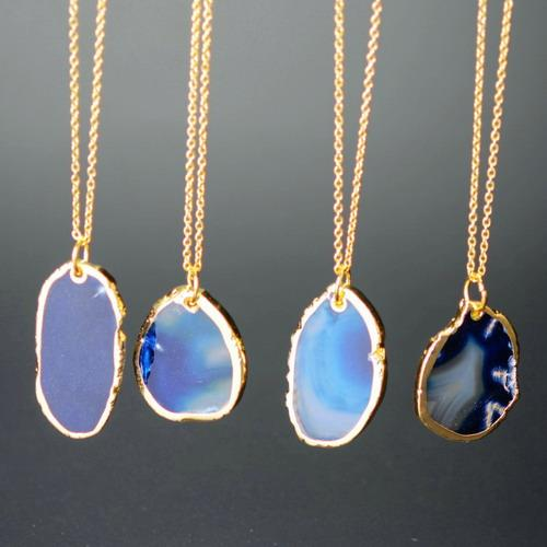 Wholesale-Nature Agate SlPendant 18K Gold Plated Red Brazilian Natural Stone Irregular Pendant Statement Necklace For Women Jewelry