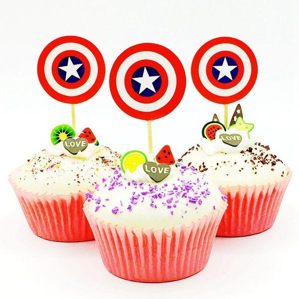 Compre 720 Unids Lote Superhéroe Capitán Escudo Cupcake Toppers Baby Shower Chico Niños Fiesta De Cumpleaños Decoración Pastel De Dibujos Animados
