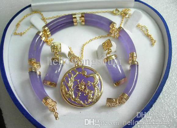 Rouge jade 18KGP Boucles d/'oreilles collier pendentif Set