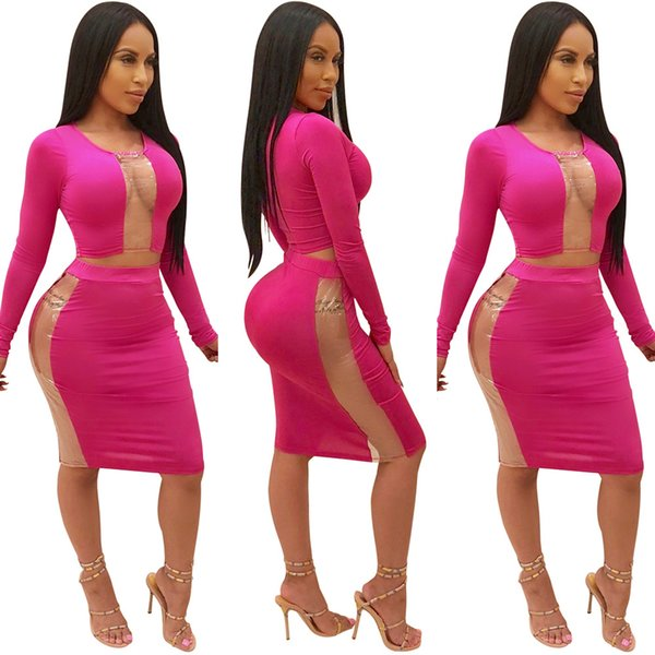 Women's Sexy Tracksuits Long Sleeve Crop Top + Mini Skirts Suit Set Nightclub Fashion Outfits Tracksuit Women Lady Clothing