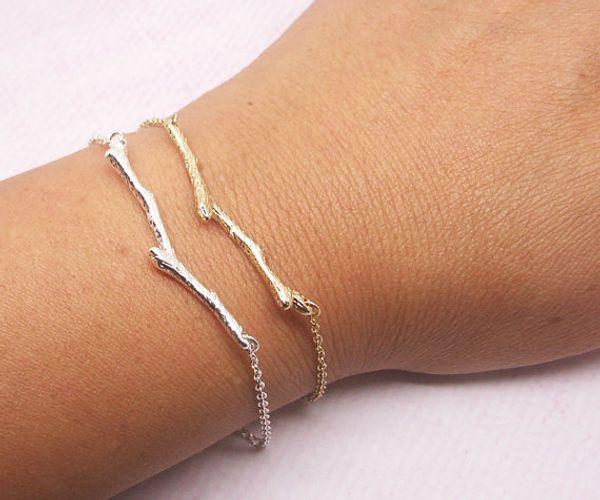 30pcs Braccialetto d'argento di natura boschiva oliva ramoscello braccialetto d'argento oro semplice bracciale ramo ramo giardino botanico pianta bracciali