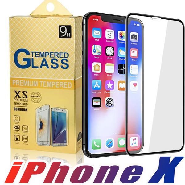 For Iphone X 8 8Plus 7 7Plus 6 6S 6Plus 6SPlus 5 Full Cover Flim 2.5D 9H Hardness Tempered Glass Screen Protector