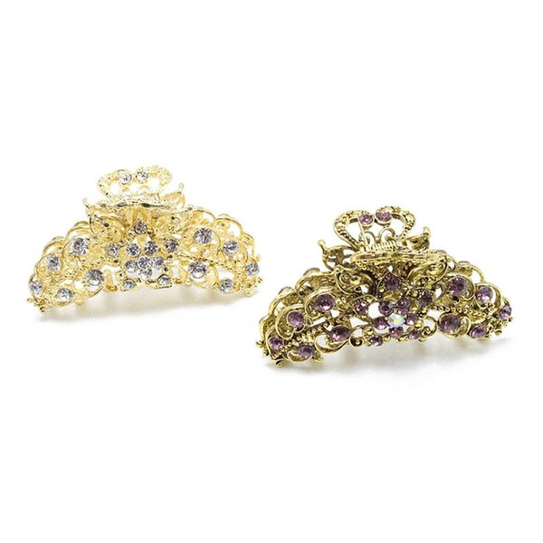 Vintage Flower Crab Hair Clip Hair Ornament Rhinestone Crystal Metal Hair Claw Clip For Women Alloy Jewelry 10 Colors Available S918