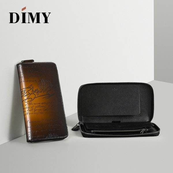 DIMY 2018 NEW Genuine Leather Men Wallet Handmade Zipper Long Male Purses Casual European and American Style in Men's Wallets