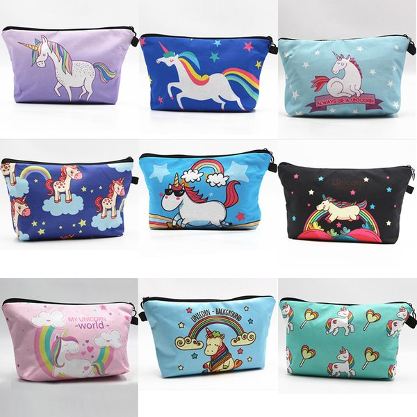 Hot Beautiful Womens Unicorn Pattern Cosmetic Zipper Bags Party Home Lovely Storage Cases Gifts Free Shipping