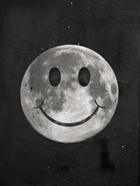 """Unframed/Alec Monopoly """"Happy Moon"""",HD Canvas Print home decor wall art painting,office art culture"""