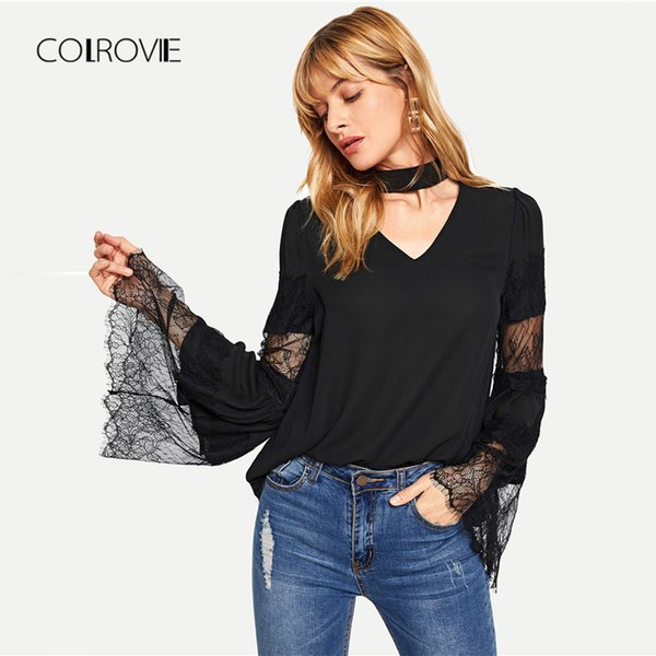 COLROVIE Black Solid Keyhole Back V-Cut Mesh Elegant Blouse Shirt 2018 Autumn Casual Blouse Streetwear Womens Tops And Blouses
