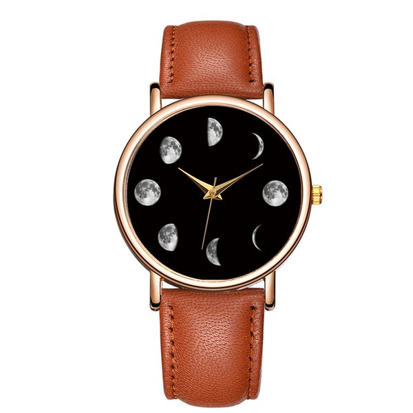 Baosaili New Design Moon Paern Uhr Herren Lederband Armbanduhr Damenuhr No Number Printed Clock Face B-9104
