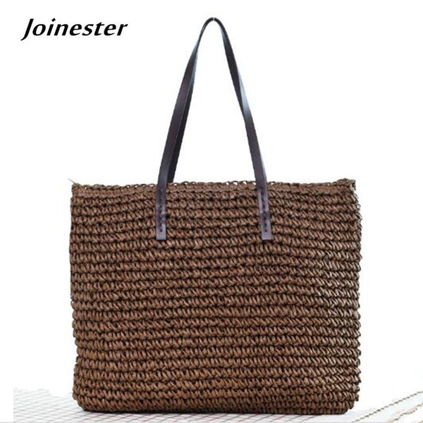 Ladies' Summer Beach Sea Straw Woven Casual Bag Tote Bohemia Hand Knitted Crochet Carry-All Shoulder Bag Handbag Shopper Tote