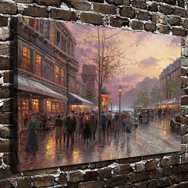 Thomas Kinkade Oil Painting Art Streetscape series 4 HD Canvas print Wall Art Pictures Home Decor Living Room Decoration