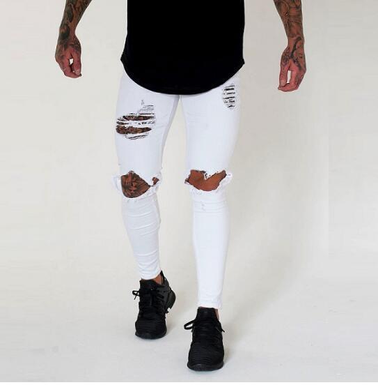 CALDO! Jeans strappati distrutti da uomo Jeans strappati strappati Skinny slim fit Jeans aderenti da uomo Pantaloni leggeri color sbiancato