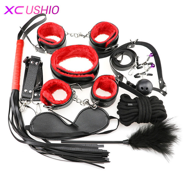 Sex Bondage Restraint Set 10pcs/set Adult Games Sex Erotic Toys Hands Nipple Clamp Whip Collar Sex Toys for Couples Flirting Y18102405