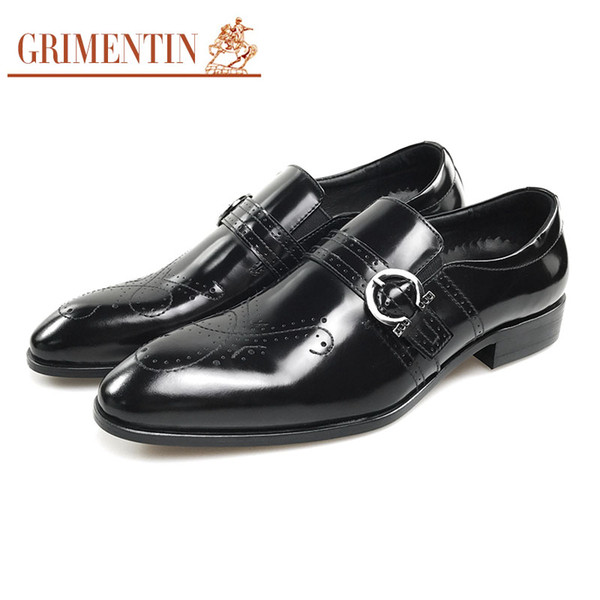 GRIMENTIN mens patent leather shoes black brown fashion formal party male dress shoes size:6-10.5 CG20