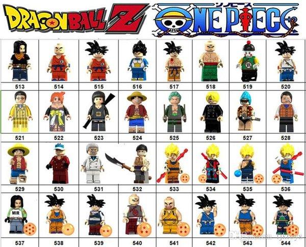 Wholsale Super hero Mini Figures Dragon Ball Goku ONE PIECE Luffy Marvel Avengers DC Justice League Wonder woman building blocks kids gifts