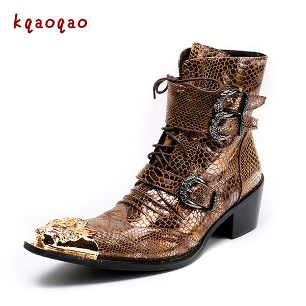 Compre Chunk Heels Hombre Botas Oro Hebillas Oxfords Lace Up Zapatos Vintage Motocicleta Botas Cuero Hombre Zapatos Zapatos Cortos De Alta Calidad A