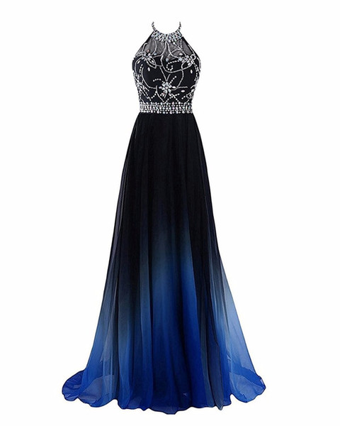 best selling 2018 Newest Hot Sale Sexy Halter Gradient Prom Dresses With Long Chiffon Plus Size Ombre Evening Party Gowns Formal Party Gown
