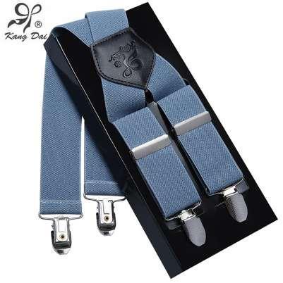 Kangdai Suspenders Men Leather Alloy 4 clip Suspender Brand Belt Elastic Trouser Straps Fashion Commercial Pants Braces MCX401