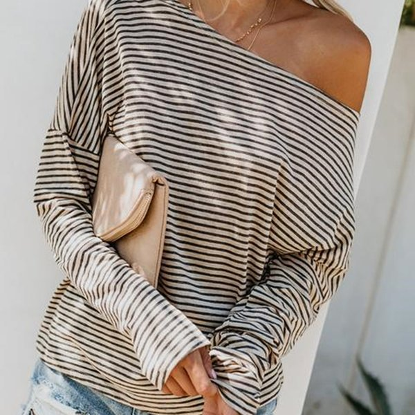 Casual Female Shirt Women Loose Striped Top Shirt Autumn Spring T-shirt O-Neck Long Sleeve Leisure Tshirts