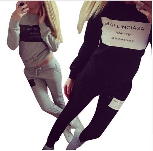 2 Pieces Set Women Tracksuit Plaid Sweatshirt + Pants Trousers Casual Sportwear Suit Sweat