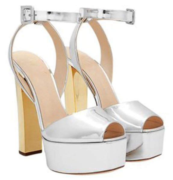 Ladies Charming Peep Toe Shining Patent Leather High Platform Chunky Heel Sandals Ankle Strap Thick High Heel Sandals Formal Dress Shoes