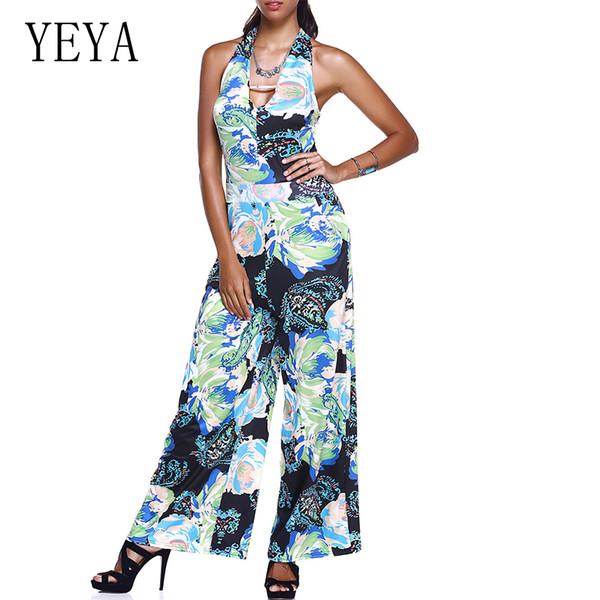 YEYA Frauen Sommer 2018 Jumpsuits Ganzkörperansicht Print Sleeveless Lace Up Strampler Retro Damen Casual Frauen Chest Wrapped Playsuit