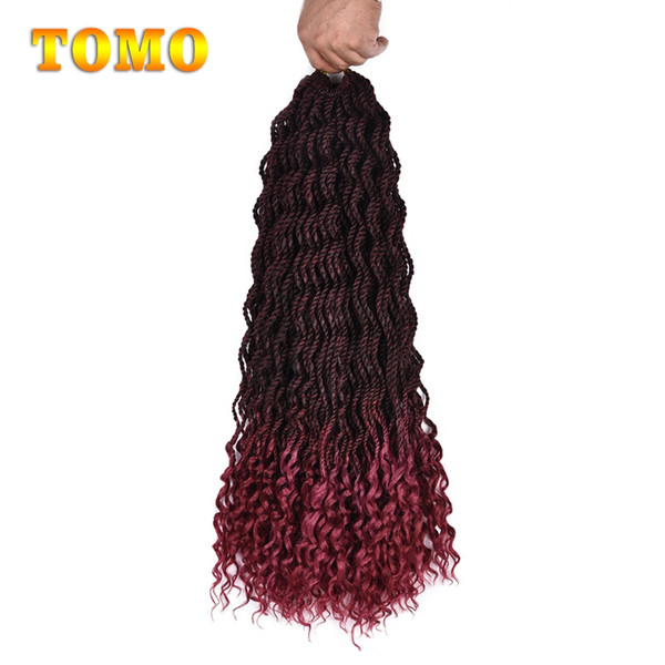 Crochet Braids Curly End Senegalese Twist Synthetic Ombre Braiding Hair Extensions Long Wavy Twist Braid Hair For Black Woman 24 Roots/Pack
