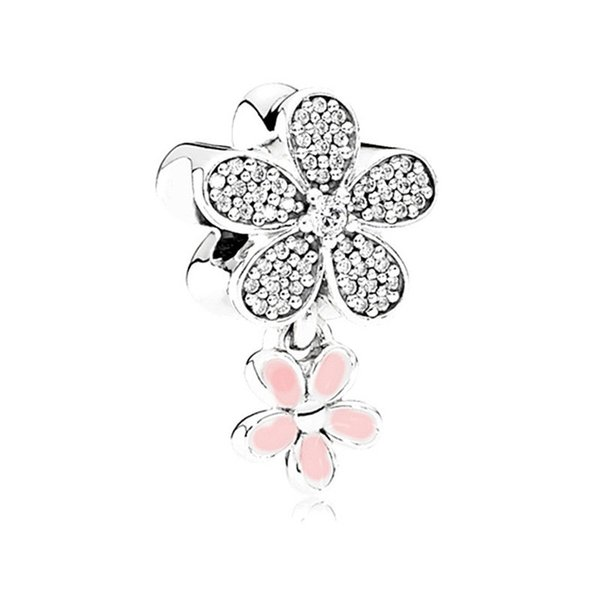 Silver Spring Light Pink Enamel Magnolia Flower Bloom Clip Charm Bead Hanging Bead Fit Original Charm Bracelet DIY Jewelry