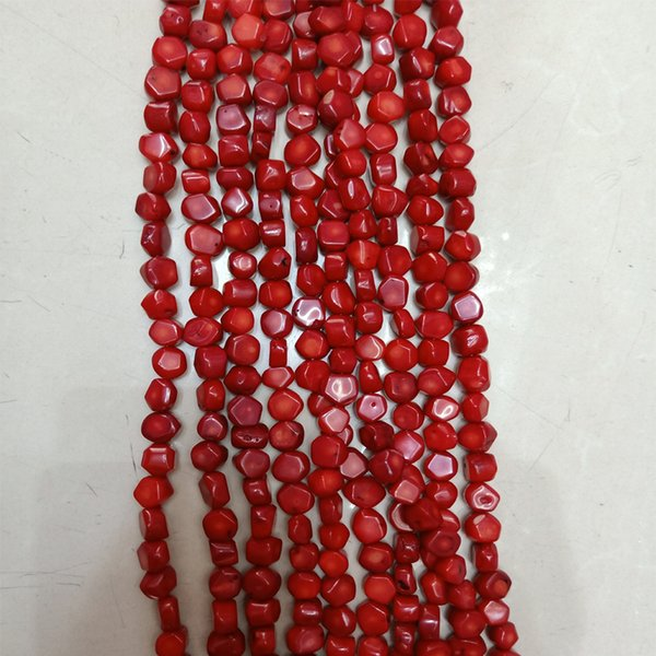 top popular High Quality Freefrom Natural Red Coral Beads Loose Nugget Coral Beads For DIY Jewelry Necklace Making Accessories Strand 16'' 2021