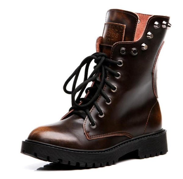 retro british style genuine leather womens martin short boots plush autumn winter warm boots female motorcycle ankle boots low heels zx574