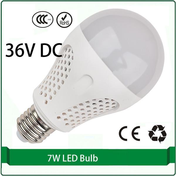 36 volts dc levou lâmpadas 7 W bulbo painel solar lâmpada 36 volts levou lâmpada 36 v e27 e26 B22 lampada