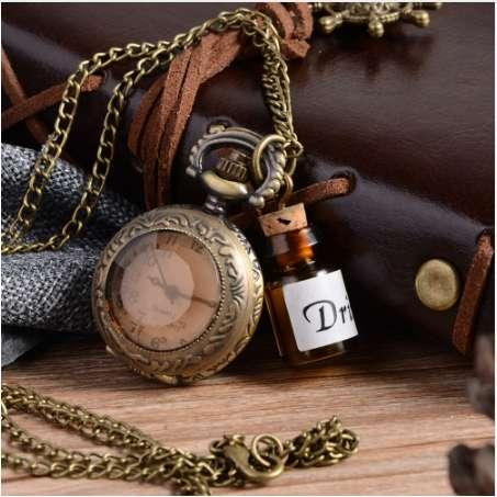 NEW Vintage Glass Alice In Wonderland Drink Me Bottle Dark Brown flip Quartz Pocket Watch for Women Lady Girl Gift Steampunk necklac