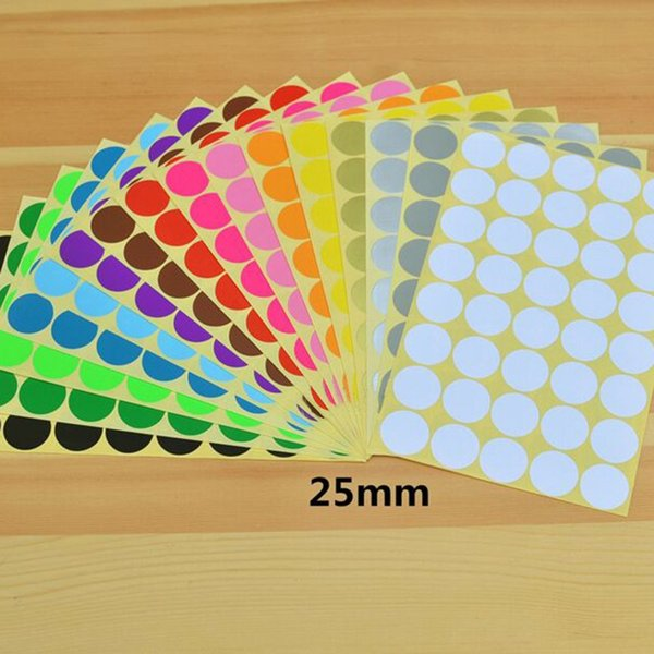 Free Shipping 40pcs/lot 25mm Colorful Round Dot sticker labels Color Stickers Circles Paper Label for Packing Tags