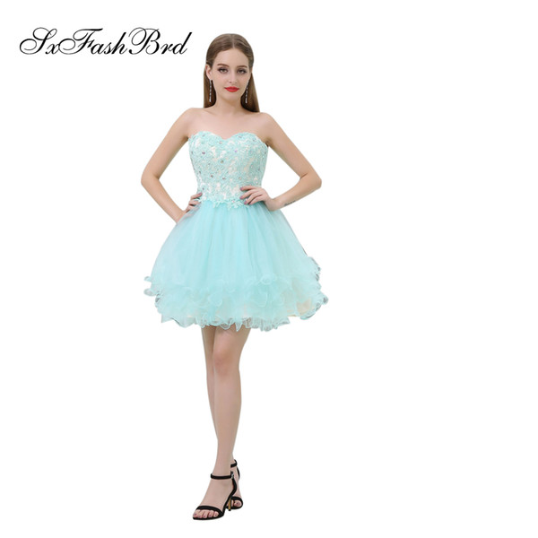Elegant Girls Dress Sweetheart With Appliques A Line Mini Short Light Sky Blue Tulle Party Formal Evening Dresses for Women Prom Dress Gowns