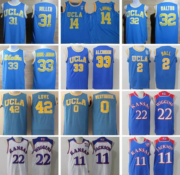 Men Youth UCLA Bruins College Jersey 14 Zach LaVine Lonzo Ball Kansas Jayhawks 11 Josh Jackson 22 Andrew Wiggins Basketball jerseys Cheap