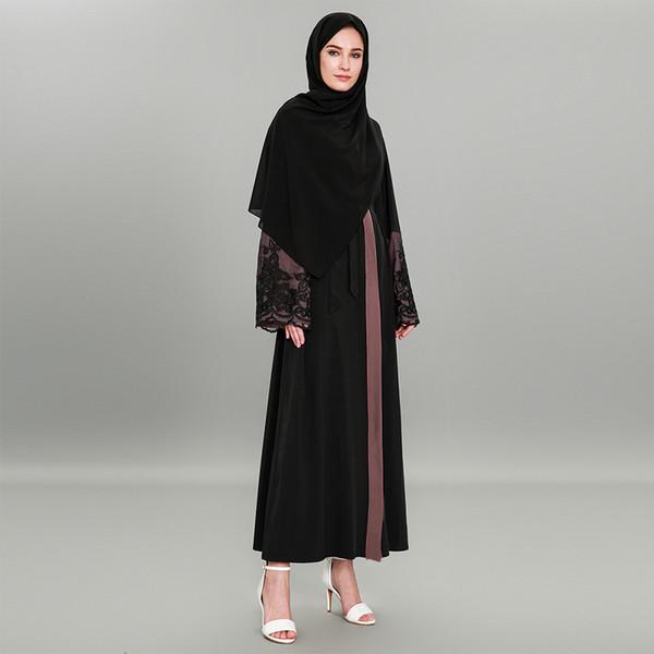 Femmes musulmanes Black Lace Ouvert Abaya Taille Plus islamique Femmes Patchwork Kimono Cardigan S-2XL avec ceinture