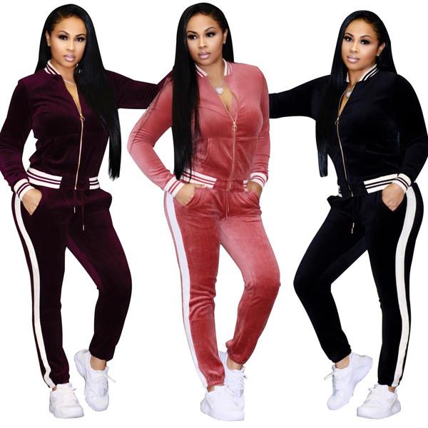 3XL Velvet Tracksuit Women Costume Striped Set Long Sleeve Zipper Tops+Pant Velour Tracksuit Standard Twinset Compact Leg Sporting Suits