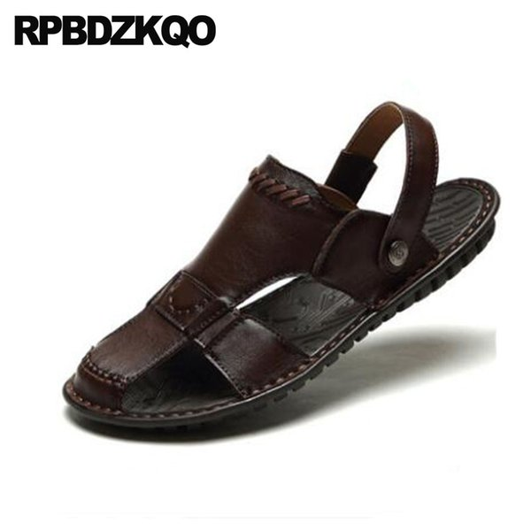 Compre Vestido De Punta Cerrada Mulas De Cuero Genuino Diseñador De Verano Zapatos Hombres Zapatillas De Alta Calidad Al Aire Libre De Lujo Sandalias
