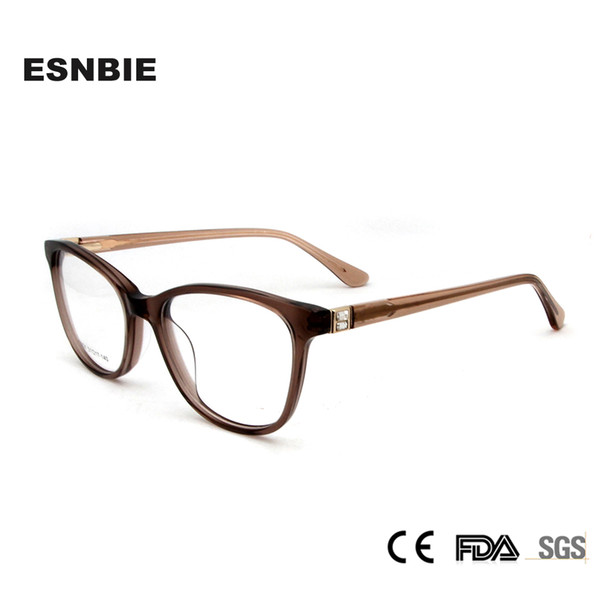 94081c522f ESNBIE Acetate Eye Glasses Frame for Women Luxury Diamond Women s  Prescription Eyewear Myopia Frame Reading Glasses